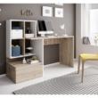 PC asztal, artisan tölgy/fehér matt, NEREO