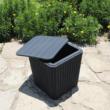 Kerti tároló doboz/kisasztal, fekete, UGUR