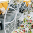 Függő dupla fotel, fehér/minta virág, DALVEA NEW
