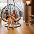 Függő dupla fotel, barna/bézs, DALVEA NEW