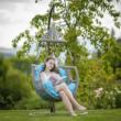 Függő fotel, barna/szürkésbarna/kék, LUANDA