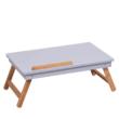 Notebook asztal/táblagép tartó, fehér/természetes bambusz, MELTEN