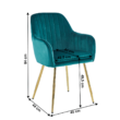Dizájn fotel, smaragd Velvet szövet/gold króm-arany, ADLAM