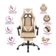 Irodai/gamer fotel, fekete/fehér/bézs, OZGE 2 NEW