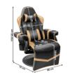 Gamer szék lábtartóval, fekete/arany, ZORDAN