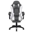 Irodai/gamer szék RGB LED világítással, fekete/fehér, JOVELA