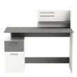 Számítógépasztal, fehér/sötétszürke, PLATON