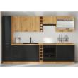 Alsó szekrény fiókokkal, matt fekete/artisan tölgy, MONRO 60 D 3S BB