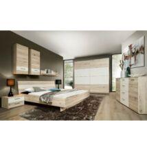 Hálószoba, szekrény+ágy+2db éjjeliszekrény,   homok tölgyfa/fehér, VALERIA
