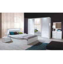 Hálószoba készlet (szekrény+ágy 160x200+2x éjjeliszekrény), fehér/magas fény HG, ASIENA
