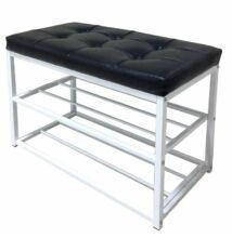 Cipőtartós ülőpad, fekete/fehér, LYROS
