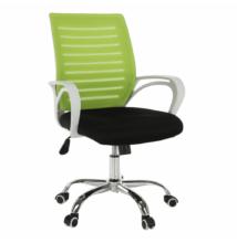 Irodai szék, zöld/fekete/fehér/króm, OZELA