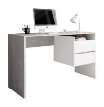 PC asztal, beton/fehér matt, TULIO