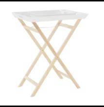 Tálalóasztal két kihúzható fedőlappal, fehér/natúr, NORGE