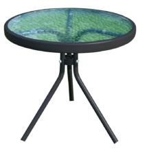 Kerti kisasztal, fekete acél/edzett üveg, HABIR