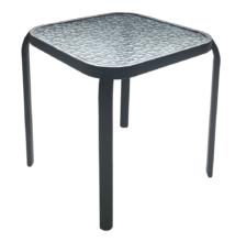Kerti kisasztal, fekete acél/edzett üveg, RAMOL