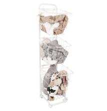 Többfunkciós polcállvány kosarakkal, fehér fém, ARODO