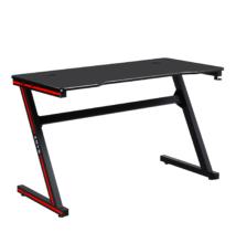 Gamer asztal/számítógépasztal, fekete/piros, MACKENZIE 120cm