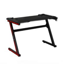 Gamer asztal/számítógépasztal, RGB LED világítással, fekete/piros, MACKENZIE 100cm