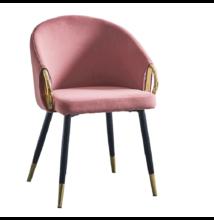 Dizájn fotel, rózsaszín velvet szövet/gold króm arany, DONKO