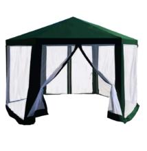 Kerti pavilon sátor, 3,9x2,5x3,9m, zöld/fehér, RINGE TYP 1+6 oldal