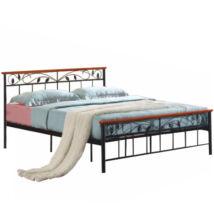 ágy lemezes ágyráccsal, fa cseresznye /  fém, 160x200, MORENA