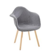 Étkező fotel, világosszürke anyag minta/bükk, LAMIS