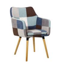 Fotel, kék/bézs minta patchwork/bükk, LANDOR