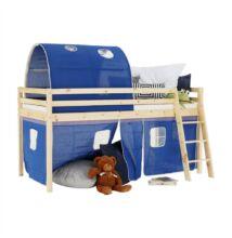 Magasított ágy, természetes/kék, 90x200, INDIGO
