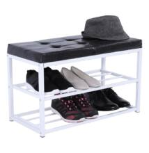 Cipőtároló pad, fekete/fehér, LYROS