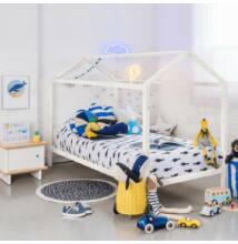 Modern ágy, tűnyalábos fenyőfa, fehér, IMPRES