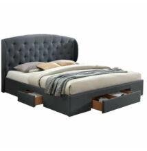 Dupla ágy, szövet szürke, 160x200, OLINA NEW