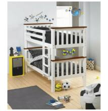 Emeletes, kinyitható ágy ágy, fehér/barna, ROWAN NEW
