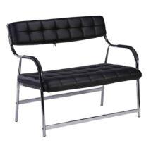2 személyes pad a  várótermekbe, fekete/króm, ILKIN