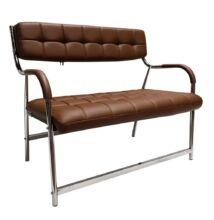 2 személyes pad a  várótermekbe, barna/króm, ILKIN