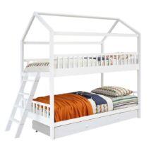 Elemetes ágy, fehér, 90x200, EVALIA