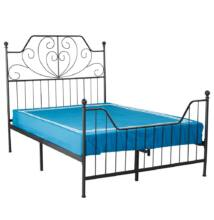 Fém ágy ágyráccsal, fekete, 160x200, RAJANA