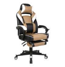 Irodai/gamer fotel, fekete/fehér/bézs, OZGE NEW