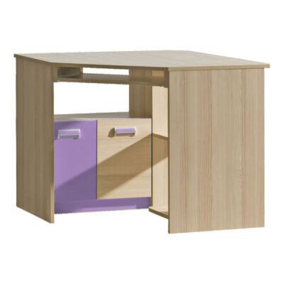 Sarok PC asztal, kőrisfa/lila, EGO L11