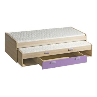 Dupla ágy pótággyal, kőrisfa/ibolyakék, 200x80, EGO L16