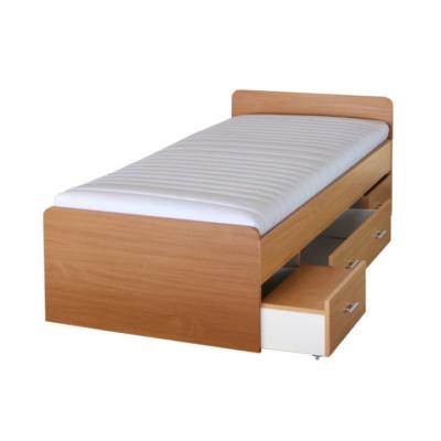 Ágy ágyneműtartóval, bükkfa, 90x200 cm, DUET