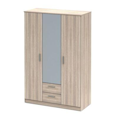 3ajtós szekrény tükörrel, sonoma tölgyfa, NOKO-SINGA 82