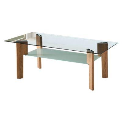 Dohányzóasztal, MDF fóliázott, tölgy sonoma + üveg, ADELO