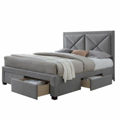 Luxus ágy ágyneműtartóval, szövet szürke melír, 160X200, XADRA