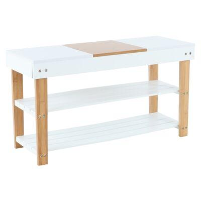 Cipős szekrény, fehér/bambusz, KARMEL