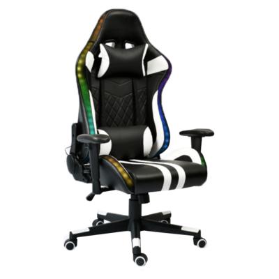 Irodai/gamer szék RGB háttérvilágítással, fekete/fehér/színes minta, ZOPA