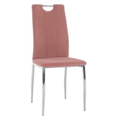Étkezőszék, rózsaszín Velvet szövet/króm, OLIVA NEW