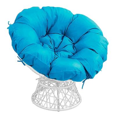Forgó fotel párnával, fehér/petróleumkék, TRISS BIG