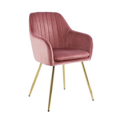 Dizájn fotel, rózsaszín Velvet szövet/gold króm-arany, ADLAM