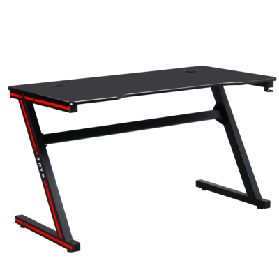 Gamer asztal/számítógépasztal, fekete/piros, MACKENZIE 140cm